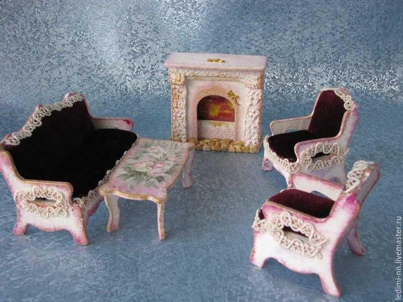 Мебель для кукольного домика своими руками, мастер-классы с фото
