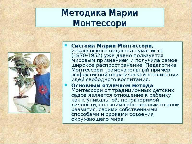 Методика мария монтессори, основные принципы системы