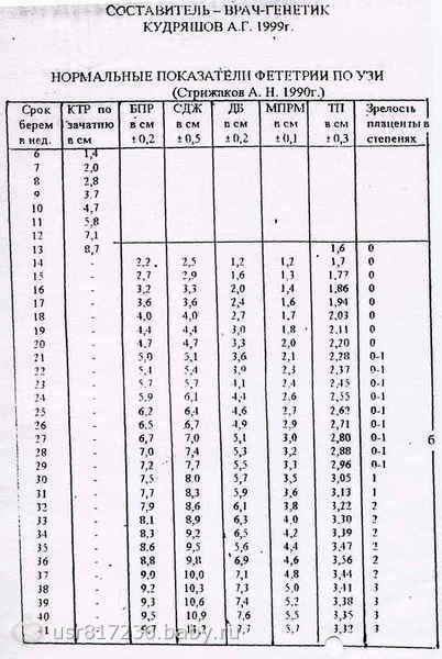Толщина плаценты - норма в виде таблицы, консультация