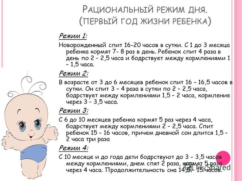 Бодрствование и сон грудничка: таблица режима до года, график от 0 до 12 месяцев