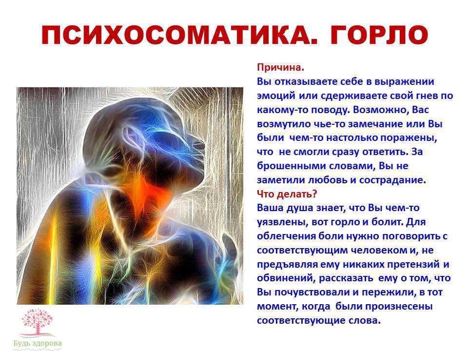 Психосоматика горла: чувство кома, боль, спазмы на нервной почве