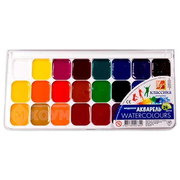 Медовая акварель: акварельные краски в наборе по 6, 12 и 14 цветов, цветовая гамма продукции erich krause, линек луч «классика» и гамма «мультики»
