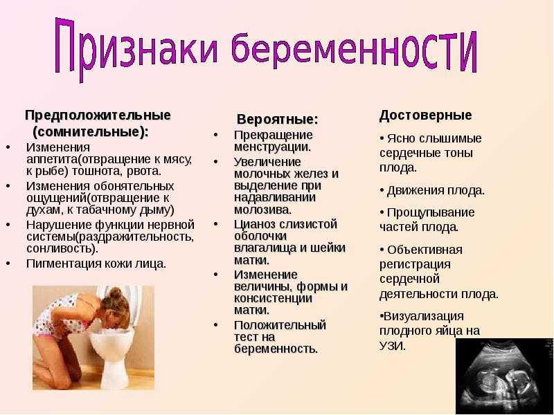 Признаки беременности   уроки для мам