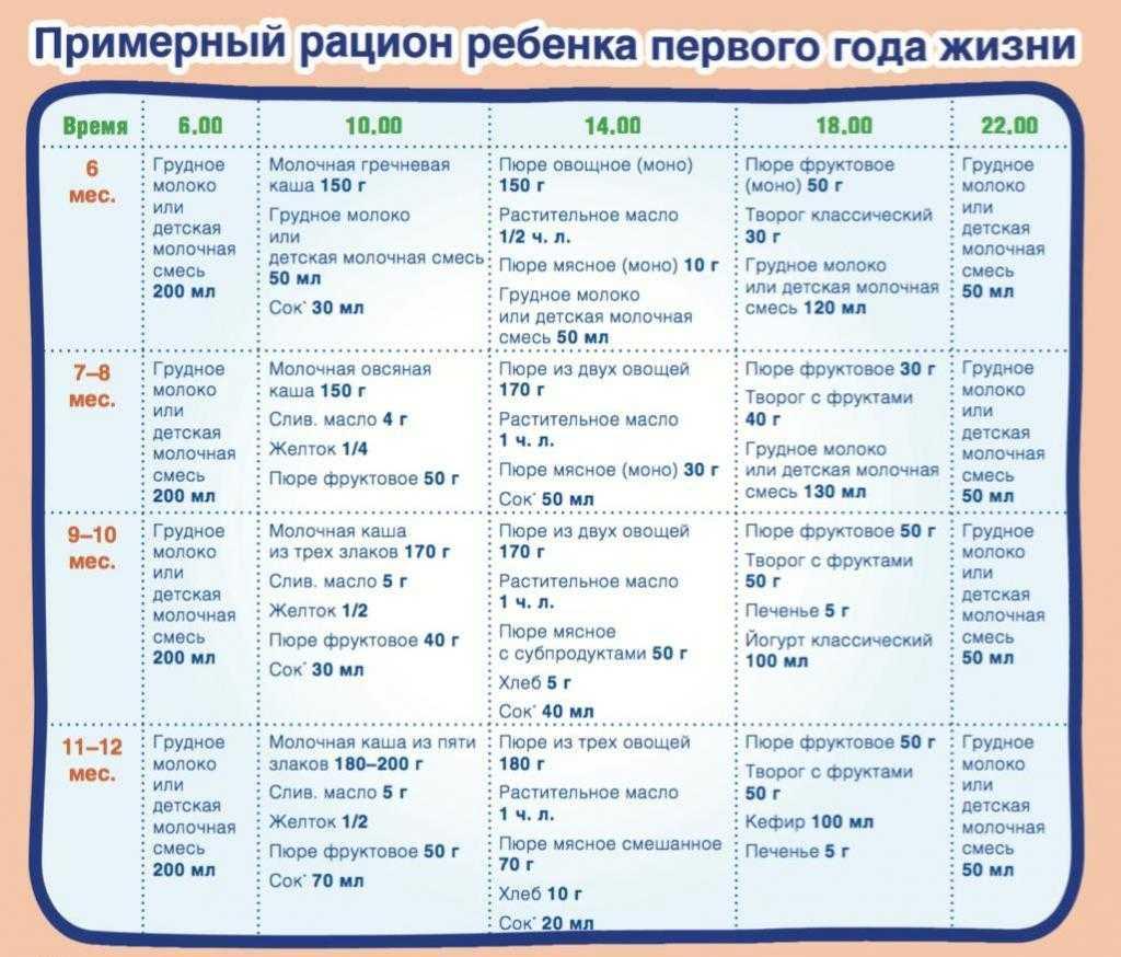 Режим питания и примеры меню для ребёнка 9 месяцев