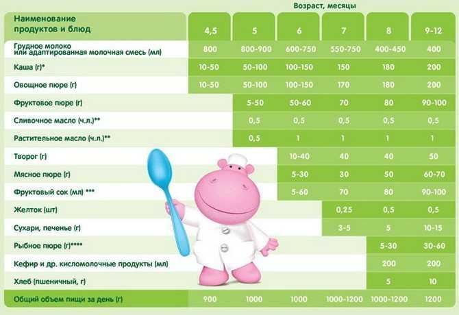 Прикорм по месяцам при грудном вскармливании: таблицы введения продуктов, когда начинать, правила, педагогический прикорм