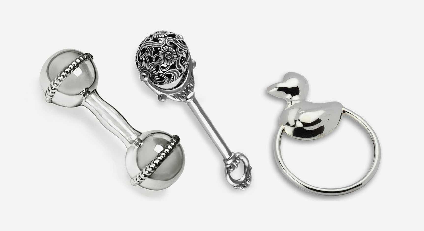 Серебряная погремушка: детские модели из серебра для новорожденных, tiffany, набор с ложкой
