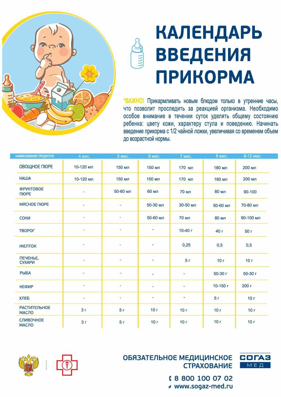 Прикорм ребенка по месяцам до года при грудном вскармливании