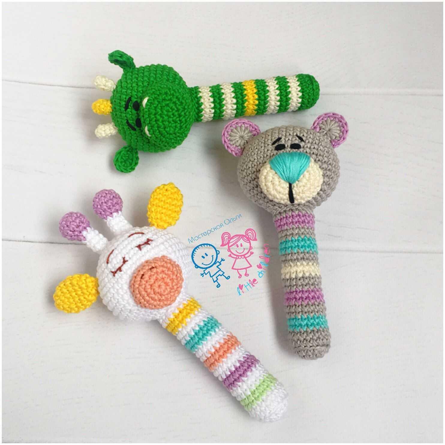 Вяжем игрушки погремушки для новорожденных
