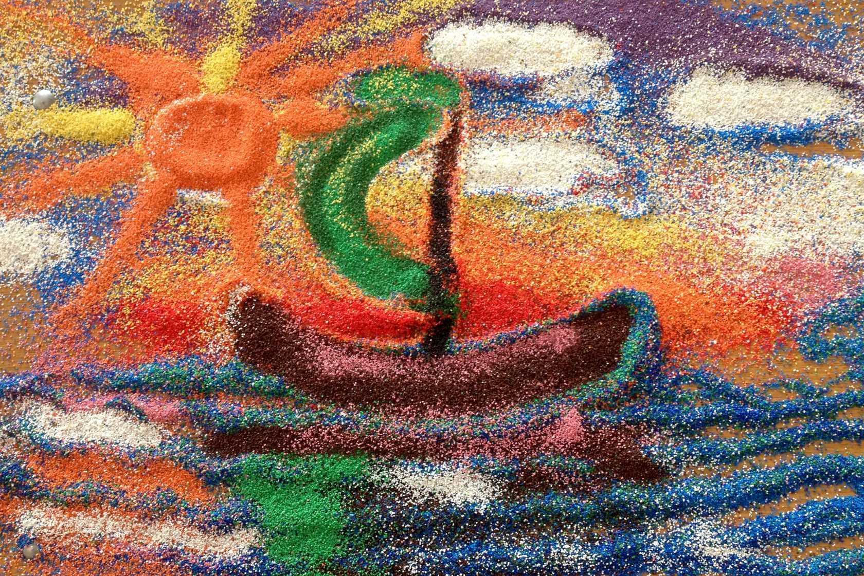Фрески из песка: песочные картины для детей, неоновые фрески из цветного песка и другие. как ими пользоваться?