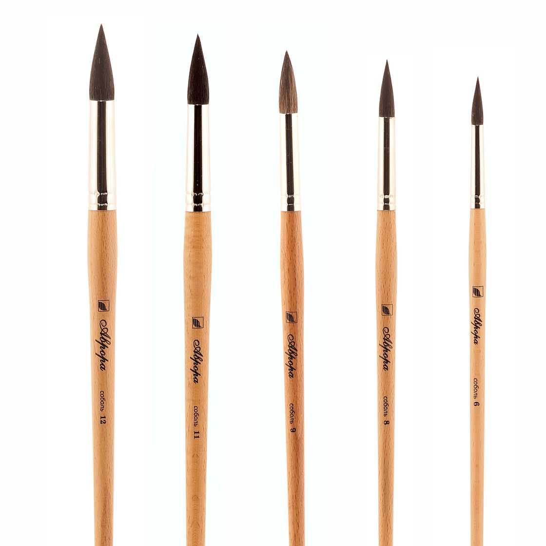 Кисти из меха белки: круглые и плоские кисти для рисования, набор художественных инструментов для акварели, размеры 2 и 3, 4 и 6, 10