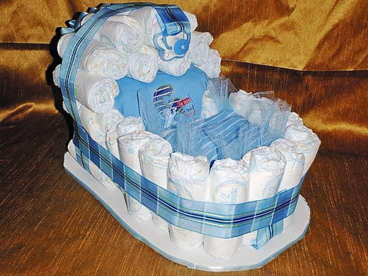 Как сделать торт из подгузников для мальчика?
