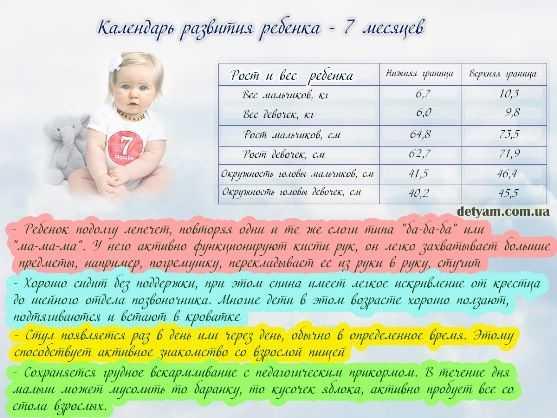 Подробная таблица развития малыша по месяцам от рождения до года